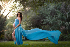 Caroline Maternity Dress with Single Train, Tube Top, Turquoise