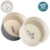 Mary Berry Set of 2 Ceramic Ramekins With The Goose & Fern Design Grey & Cream