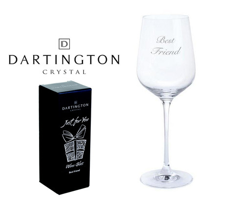 "DARTINGTON JUST FOR YOU HAND ENGRAVED ""BEST FRIEND"" SINGLE WINE GLASS"