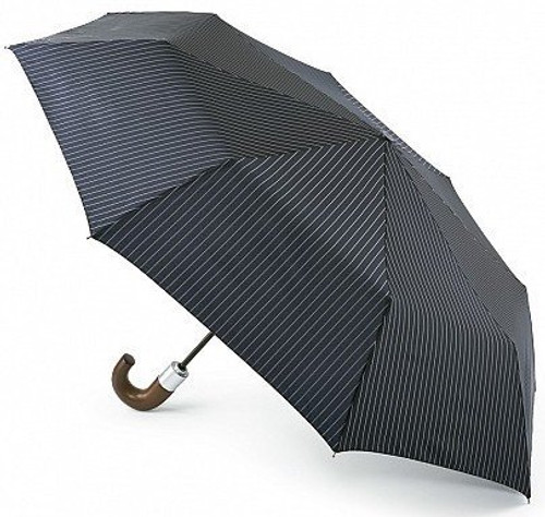 FULTON MENS CHELSEA CITY STRIPE NAVY CLOUD AUTOMATIC FOLDING UMBRELLA WOOD HANDLE