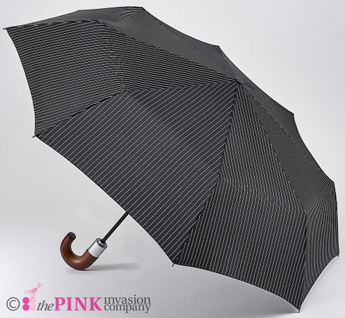 FULTON MENS AUTOMATIC OPEN & CLOSE CHELSEA BLACK & STEEL WOOD HANDLE FOLDING UMBRELLA