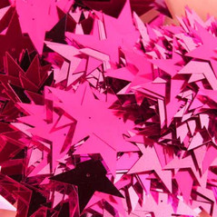 50MM Stars loose sequins FLORO CERISE