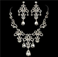Elegant Swarovski Crystal Bridal Wedding Prom Earrings Necklace Set  WS8387