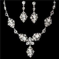 Elegant Swarovski Crystal Bridal Wedding Prom Earrings Necklace Set WS8315