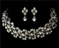 Elegant Swarovski Crystal Bridal Wedding Prom Earrings Necklace Set  WS1022