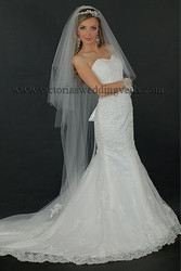 3 Tier Floor Length Wedding Veil Cut Edge Oval N69