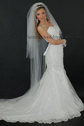 4 Tier Floor Length Wedding Veil Cut Edge N66