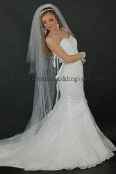 3 Tier Floor Length Wedding Veil Cut Edge Rhinestones N65R