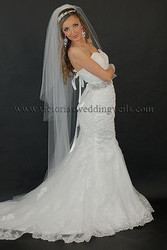 3 Tier Floor Length Wedding Veil Cut Edge N64