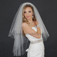 3 Layers Bridal Veil Cut Edge Rhinestones N38R