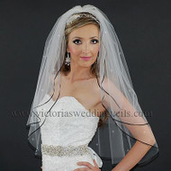 "2 Layer Bridal Veil 1/8"" Black Ribbon Rhinestones N26R1"