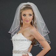 2 Layer Bridal Veil 1/8 Pink Ribbon Rhinestones N25R1
