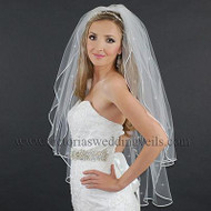 2 Layer Bridal Veil 1/8 White Satin Ribbon Rhinestones N21R1