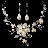 Free Bracelet Couture Freshwater Pearl Bridal Wedding Prom Jewelry Set HS5