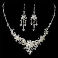 Gorgeous Couture Swarovski Crystal Bridal Wedding Prom Earrings Necklace & Bracelet Set HS10