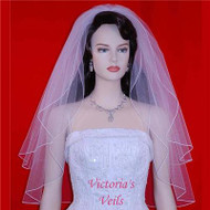 "BRIDAL WEDDING  VEIL 2 TIERS 24""x29"" 1-4"