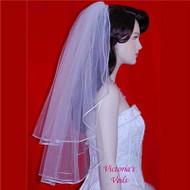 "WEDDING BRIDAL VEIL SWAROVSKI PEARLS 24""x28"" 10P3"