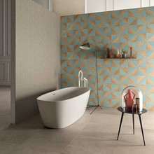 Wall - Blend Ice 200x200mm, Mosaic Solid Dust 300x300mm, Exa Clay 175x205mm Floor - Solid Dust 600x600mm