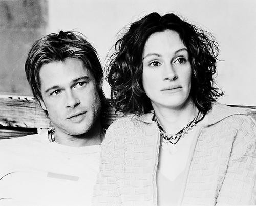 This is an image of 170621 Brad Pitt and Julia Roberts Photograph & Poster