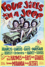This is an image of Vintage Reproduction of Four Jills in a Jeep 296439