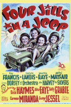 This is an image of Vintage Reproduction of Four Jills in a Jeep 297111