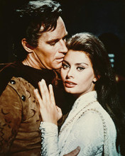This is an image of 216543 Charlton Heston & Sophia Loren Photograph & Poster