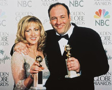 This is an image of 241260 James Gandolfini & Edie Falco Photograph & Poster