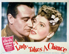 This is an image of Vintage Reproduction Lobby Card of A Lady Takes a Chance 296217