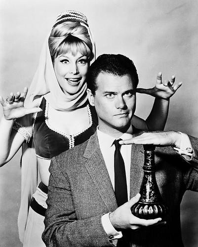 This is an image of 17564 Barbara Eden & Larry Hagman Photograph & Poster