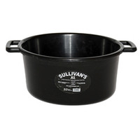 "In response to the growth of feeding more filler feeds and supplements we introduce Sullivan's SMART Feed Pan XL. It is designed to hold 45% more volume than our standard 22 quart SMART Feed Pan. XL's impressive 32 quart capacity will hold all the filler feeds and supplements that competitive cattle need in today's show ring. It features a large, open handle design provides a comfortable grip for easy carrying. The large diameter at the bottom of this feed pan prevents tipping and spills. 32 quart feed pan. Opening measures 8"" deep x 21"" diameter. Available in glossy black only."