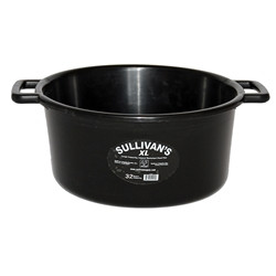 """In response to the growth of feeding more filler feeds and supplements we introduce Sullivan's SMART Feed Pan XL. It is designed to hold 45% more volume than our standard 22 quart SMART Feed Pan. XL's impressive 32 quart capacity will hold all the filler feeds and supplements that competitive cattle need in today's show ring. It features a large, open handle design provides a comfortable grip for easy carrying. The large diameter at the bottom of this feed pan prevents tipping and spills. 32 quart feed pan. Opening measures 8"""" deep x 21"""" diameter. Available in glossy black only."""