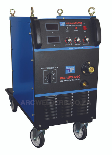 The Tradeweld MIG 325C is manufactured to the highest standards using Step controlled Transformer Technology. Features internal 4 wheel wire feed system, with stepless wire feed system. Ideal for  fabrication work .