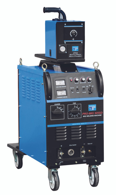 The Tradeweld MIG 505S & 500SD (dual voltage) is manufactured to the highest standards using Step controlled Transformer Technology. Features external 4 wheel wire feed system, with stepless wire feed system. Ideal for  fabrication work .