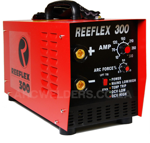The Reeflex 300amp Arc inverter features 100% duty cycle at 300amps, the unit is built with high quality European components and Siemens IGBT's. Features arc force adjustment and Lift TIG. A very popular machine in the mining and industrial sector.