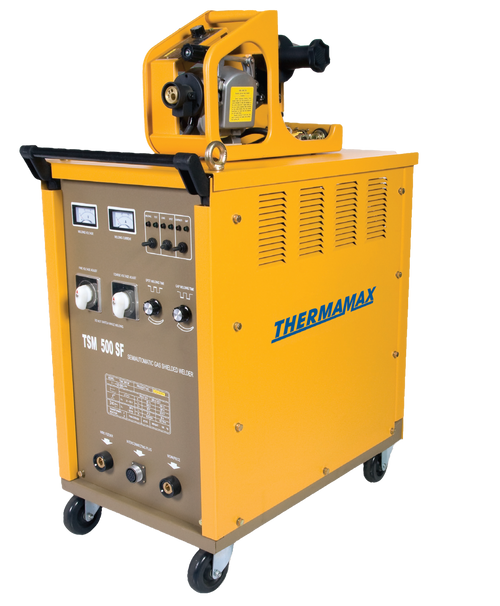 The Thermamax TSM 500SF MIG Welder is well built and reliable for any manufacturing environment. High quality transformer design with copper windings. Step adjustment divided into 30 settings for easy selection, with spot weld function. Voltage control from 90 - 500amps. Separate wire feeder with easy wire speed adjustment.