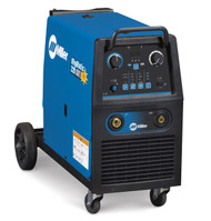 The Miller MigMatic 220 DX MIG welder is a transformer based MIG welder, with a simple to use Synergic use interface, with digital display to simplify set up and offer precise settings for welding a variety of materials. Traditional tapped design and laminated inductor provide a stable, smooth arc for consistent weld quality. MigMatic Industrial MIG system with heavy duty power source, 10 voltage steps, heavy duty wire feed system, 0.8/1.0 mm drive rolls, heavy duty ground cable and clamp and heavy duty running gear and bottle rack.