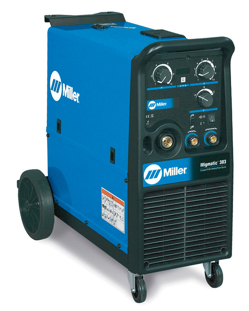 The Miller MigMatic 383 MIG welder is a transformer based MIG welder, with a simple to use control interface, with digital display to show precise settings for arc voltage, wire speed or amperage while welding. Traditional tapped design and laminated inductor provide a stable, smooth arc for consistent weld quality. MigMatic Industrial MIG system with heavy duty power source, 30 voltage steps, 2 inductance settings, heavy duty wire feed system, 1.0/1.2 mm drive rolls, heavy duty ground cable and clamp and heavy duty running gear and bottle rack.