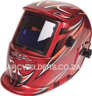 Matweld Auto Darkening Welding Helmet - Red Tribal