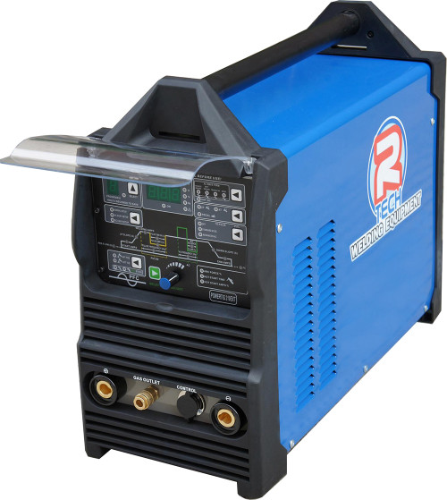 The R-Tech POWERTIG 210 EXT is a power-packed 210Amp AC/DC TIG welder with 240V input, 4 AC waveforms, 9 Job memory store, True 4 way trigger latching with pre/post gas, slope up/down and start/final amps, LED display, advanced pulse welding and remote foot pedal option and a massive 60% duty cycle.