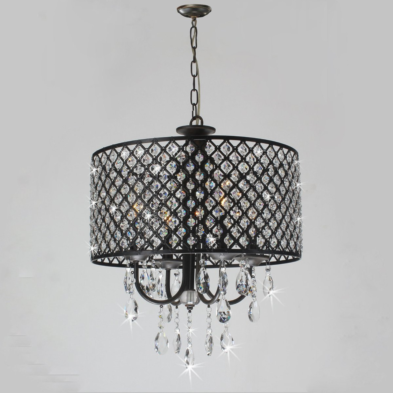 Diamond Life Antique Black 4 Light Round Crystal Chandelier Pendant Ceiling Fixture By