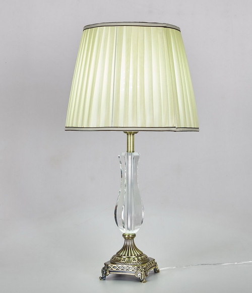 Diamond Life 27 Inch Antique Bronze Base Crystal Column Table Lamp With  Fabric Shade,