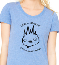 Super soft Bella Triblend womens tee. Urban Chickens - Street Smart Hens.