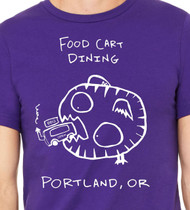 Portland Food Trailers are Popping all over the place. Lucky thing for hungry Monsters! This Food Cart Dining T is Hand Printed by Matt Wayne with Love., food truck t shirts, food street, street food trucks