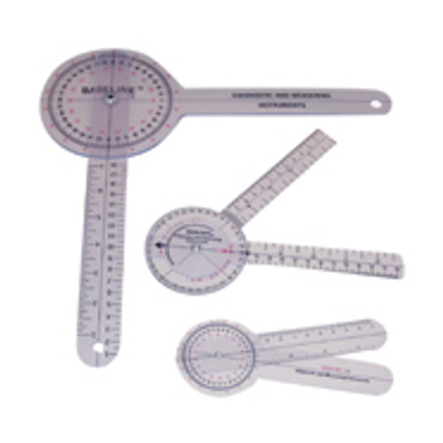 Baseline 360 degree clear plastic goniometer, 6 inches