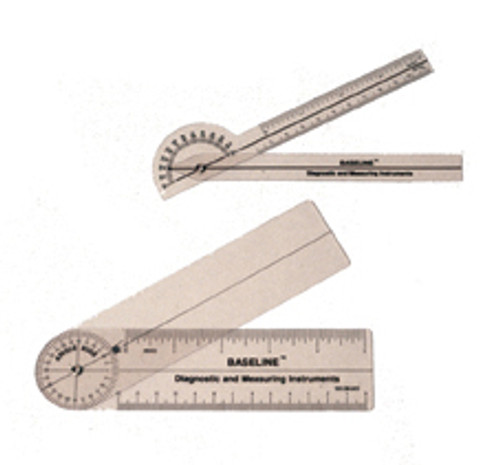 Baseline 180 degree clear plastic pocket goniometer, 6 inches