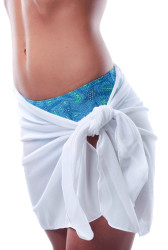 Solid white sarong over a blue high waist bikini bottom