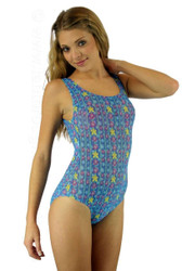 Traditional tank bathing suit in blue Bubbles print.