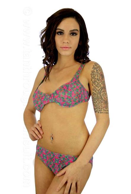 Kaleidoscope print underwire C-D bikini top.