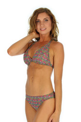 Tan through bikini top in halter style -- pink Toucan print.