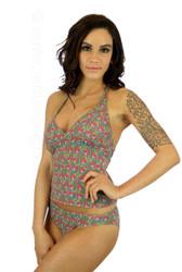 Nicole modeling high waisted bikini bottom in pink Toucan print.